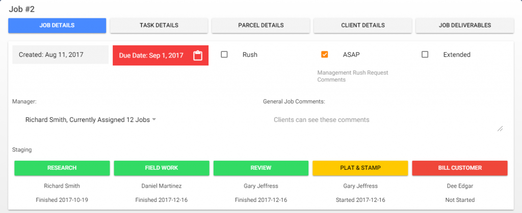 Quickly view the who, what, when, and where of a job on the job overview window.